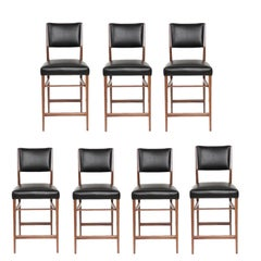 Set of Seven Maze Walnut Counter Stools