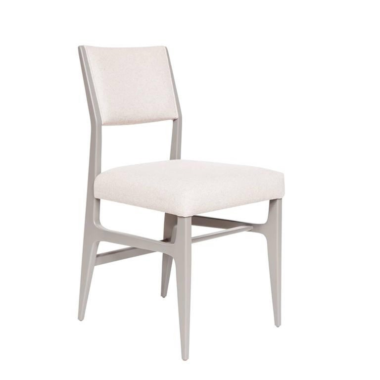"""Lacquered dining chair.  Measures: Seat height 19"""",  seat depth 17"""".  COM requirements: 1.5 yards  5% up-charge for contrasting fabrics and or welting  COL Requirements: 30 sq. feet  5% percentage up-charge for all COL or exotic"""