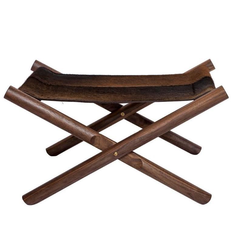 Erickson Aesthetics  Solid Walnut Folding X-Base Ottoman with Hide Seat