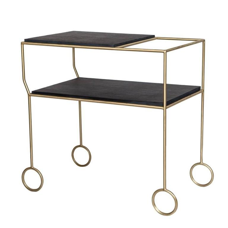 Biron Slate Top Bar Cart In Excellent Condition For Sale In New York, NY