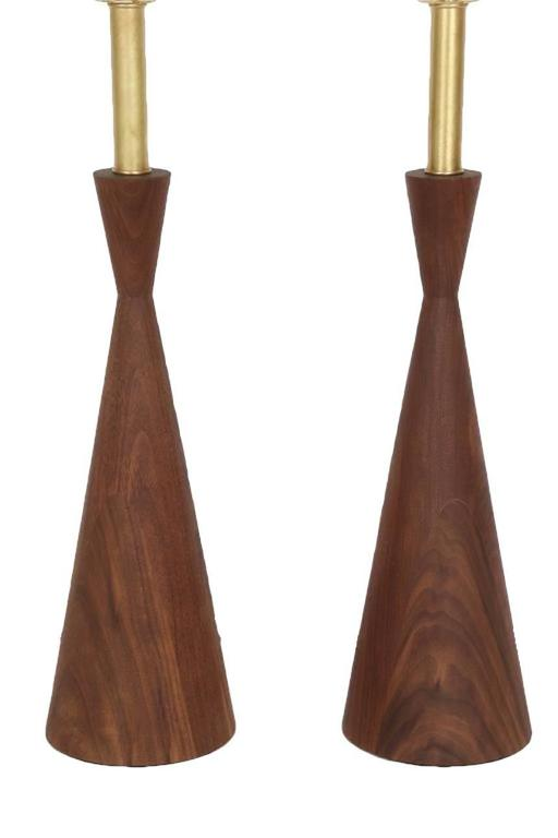 Samson Turned Walnut Table Lamps 2