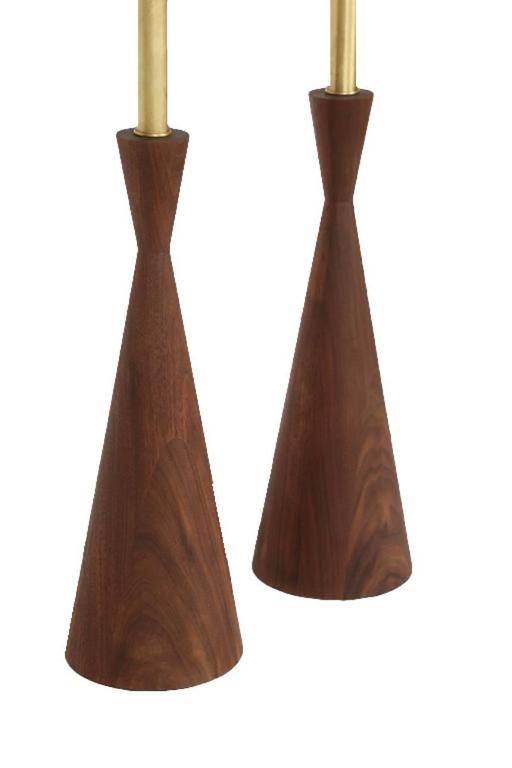 Samson Turned Walnut Table Lamps 4