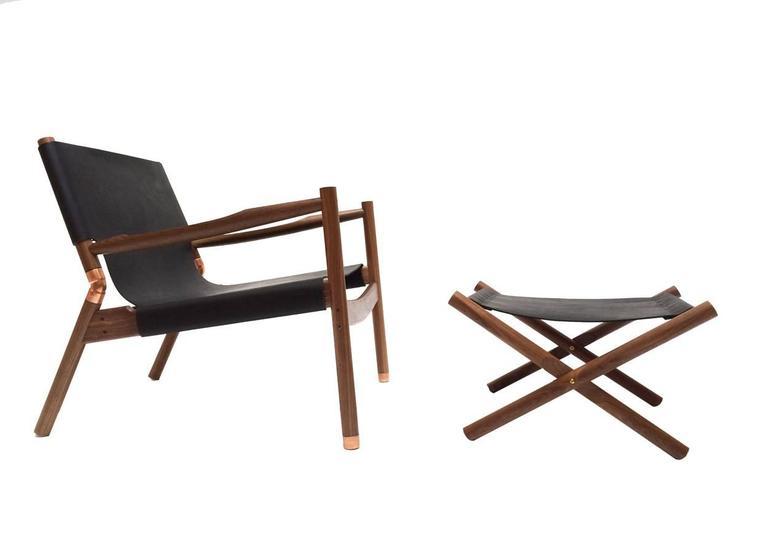 Erickson Aesthetics Slung Black Calf Leather Walnut Lounge Chair 2