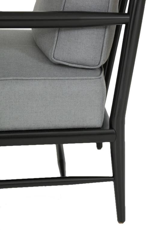 Paul McCobb Ebonized Maple Dowel Frame Armchairs In Excellent Condition For Sale In New York, NY