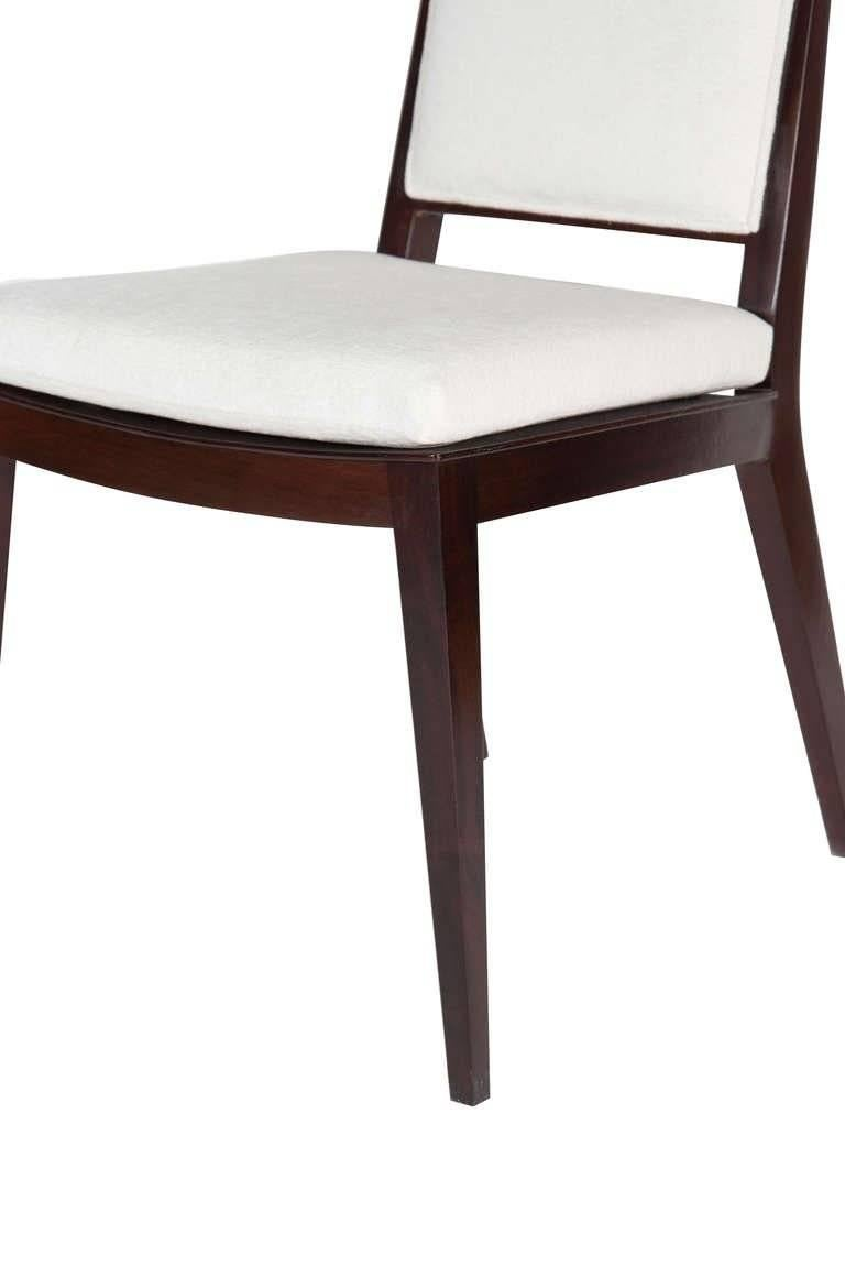 """Solid Mahogany frame back dining chair.   Seat height-19"""".  Seat depth -17.5"""".   COM requirements: 2 yards. 5% up-charge for contrasting fabrics and or welting. COL requirements:40 sq. feet. 5% percentage up-charge for all COL or exotic"""