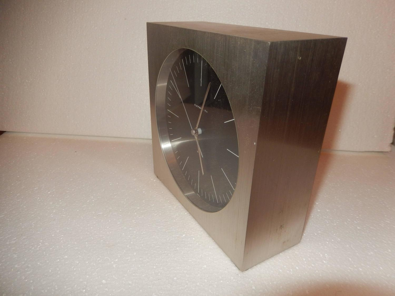 Tiffany Mid Century Steel Case Desk Clock For Sale At 1stdibs