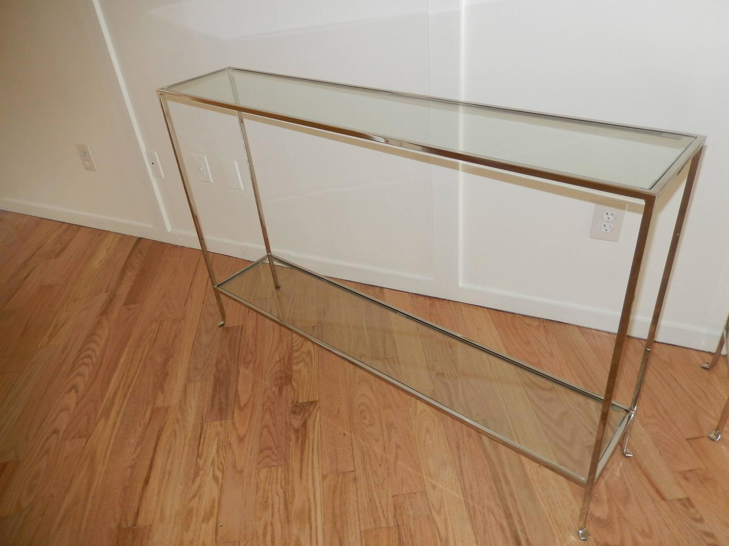 Nickel and glass two level modern console table for sale for 10 inch depth console table