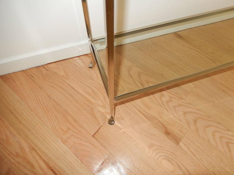 Nickel and Glass Two Level Modern Console Table In Excellent Condition For Sale In Bellport, NY