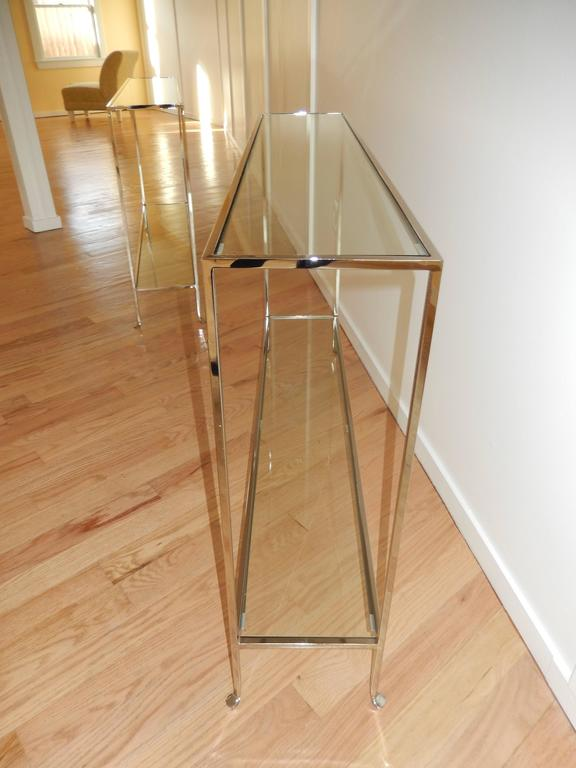 Nickel and Glass Two Level Modern Console Table 2