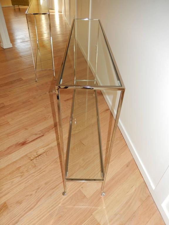 Machine-Made Nickel and Glass Two Level Modern Console Table For Sale