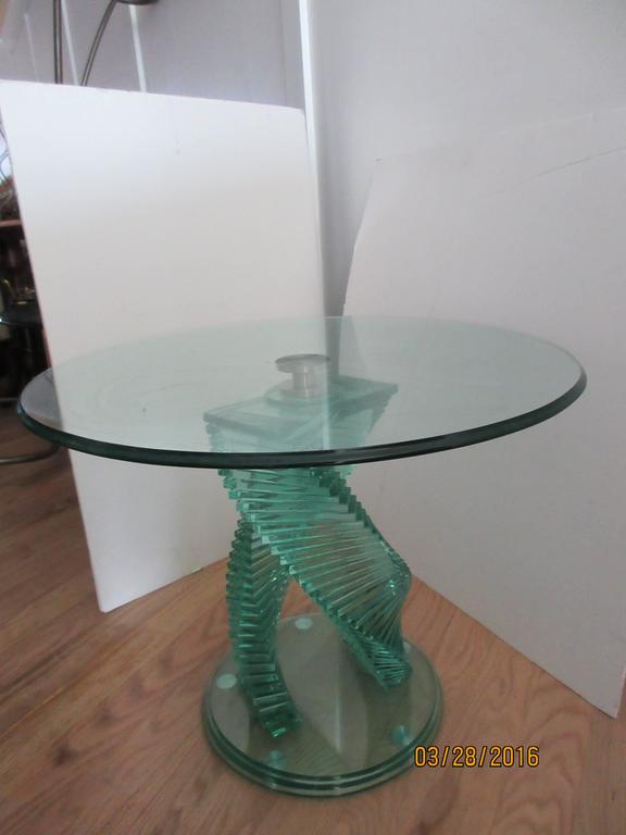Pair Of Modern Glass Step Side Tables Or End Tables In The School Of Danny  Lane