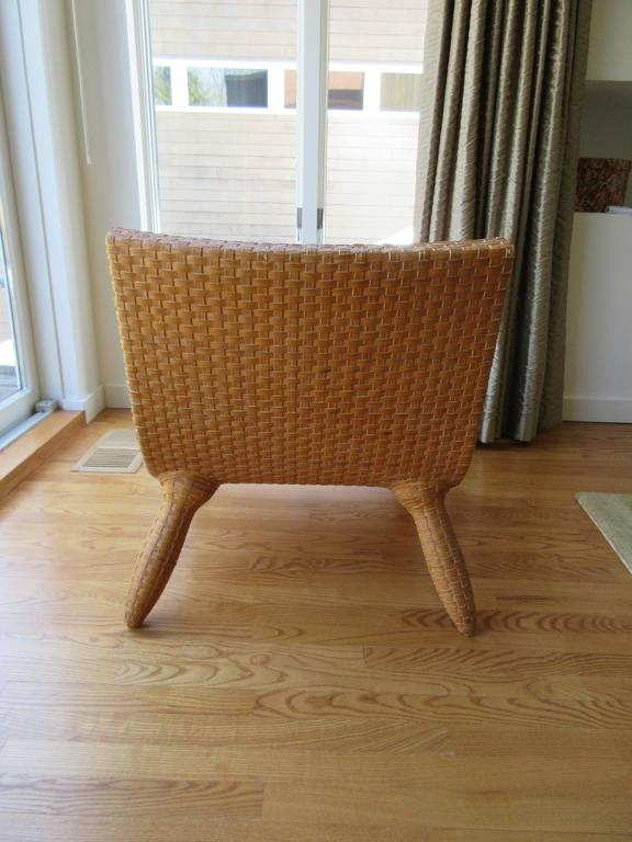 Rare leather woven scandinavian mid century modern for Oversized armchairs for sale