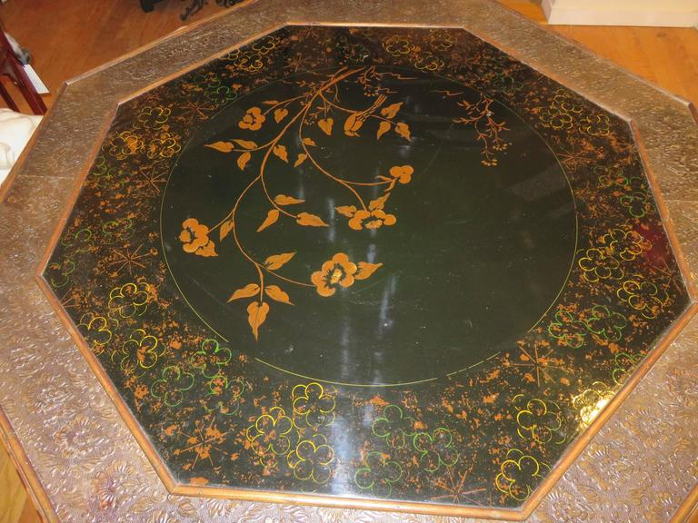 Magnificent Late 19th Century Faux Tortoiseshell and Chinoiserie Center Table 3