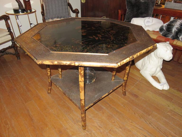 Magnificent Late 19th Century Faux Tortoiseshell and Chinoiserie Center Table 4