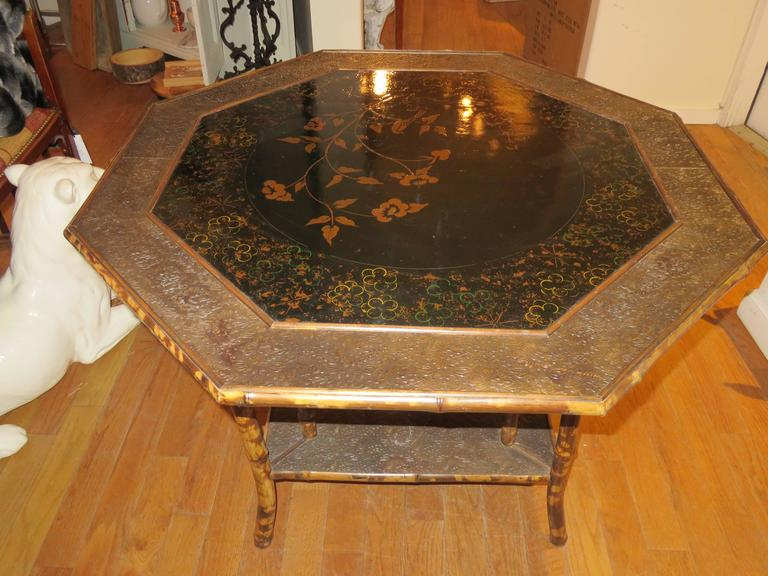 Magnificent Late 19th Century Faux Tortoiseshell and Chinoiserie Center Table 2