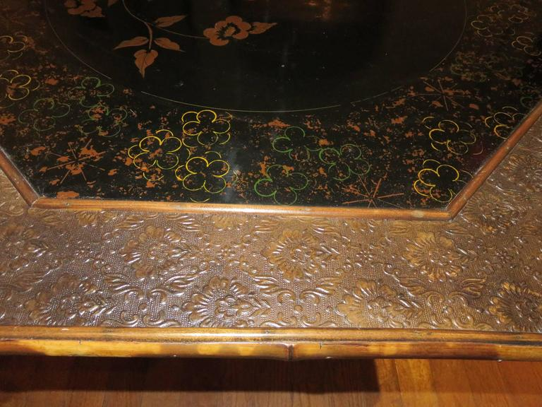 Magnificent Late 19th Century Faux Tortoiseshell and Chinoiserie Center Table 5