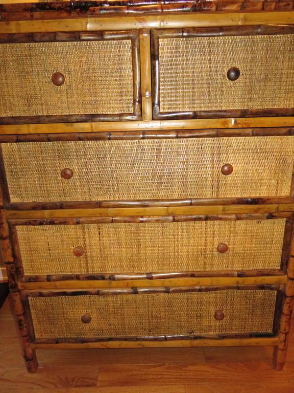 British Colonial Bamboo and Cane Dresser/Drawers For Sale