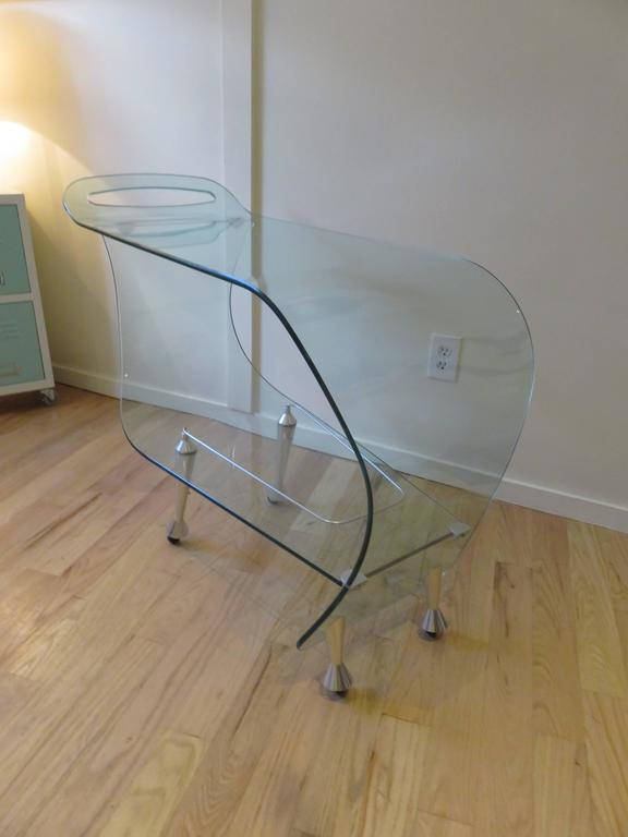 Modern Fiam Italia Glass  Bar Cart or Trolley c1980 For Sale
