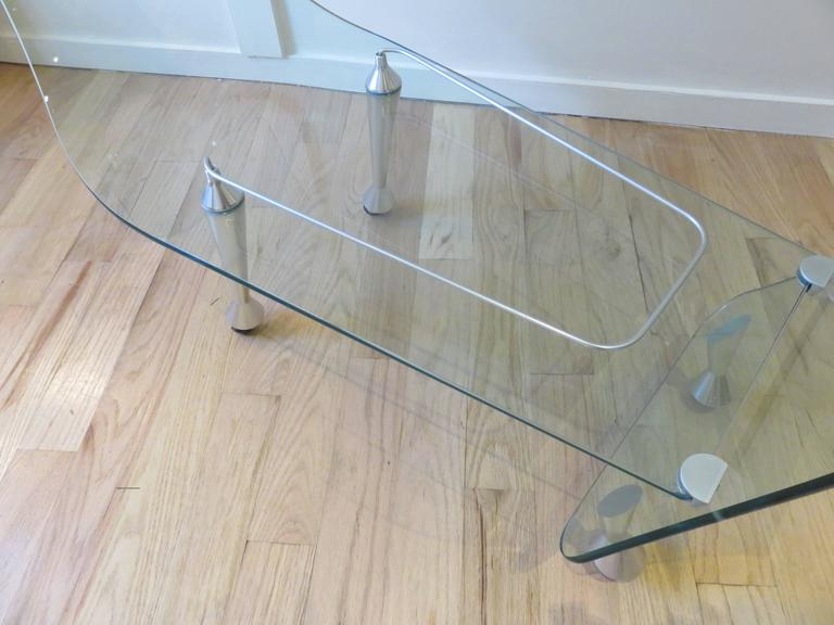 Italian Fiam Italia Glass  Bar Cart or Trolley c1980 For Sale
