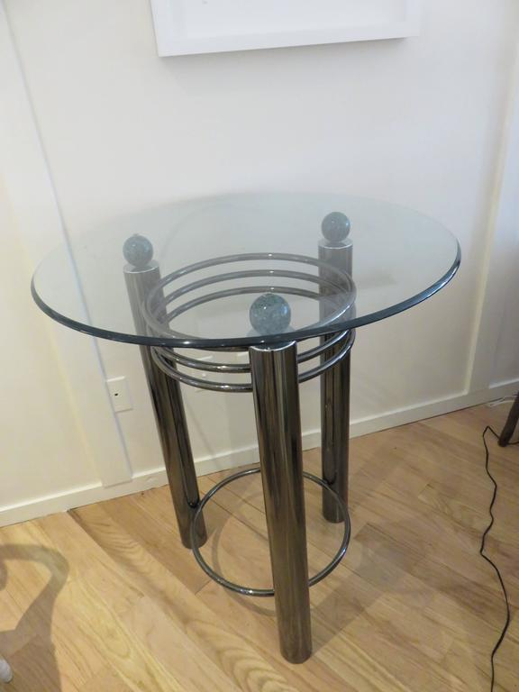 Mid-Century High Top Chrome and Marble Cocktail Table, circa 1960s 2
