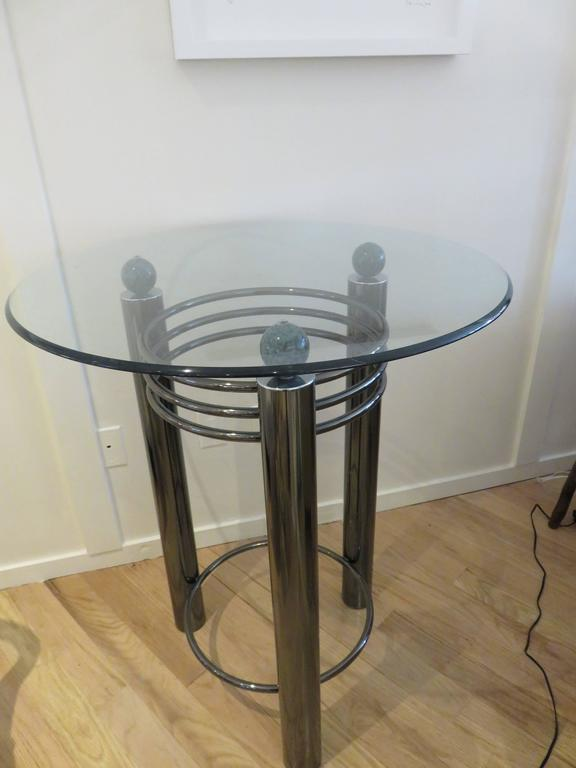 Mid-Century High Top Chrome and Marble Cocktail Table, circa 1960s 3