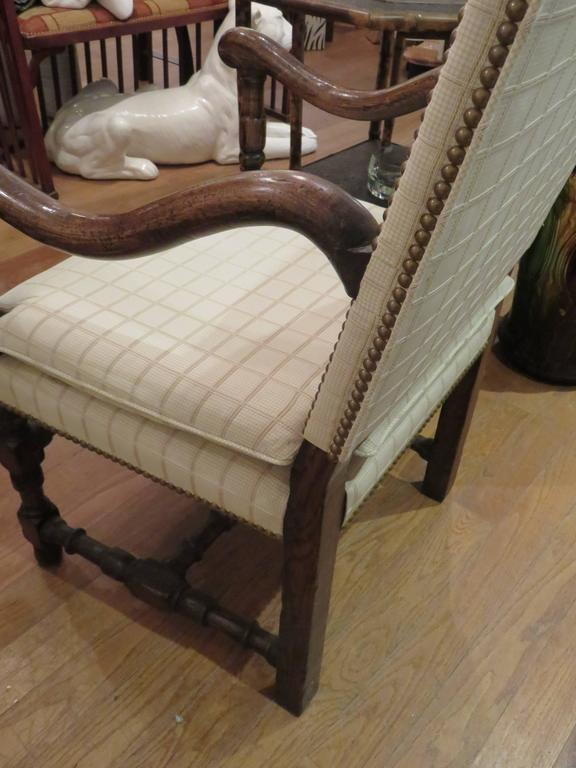 Pair of English Jacobean Revival Oak Wood Armchairs 3