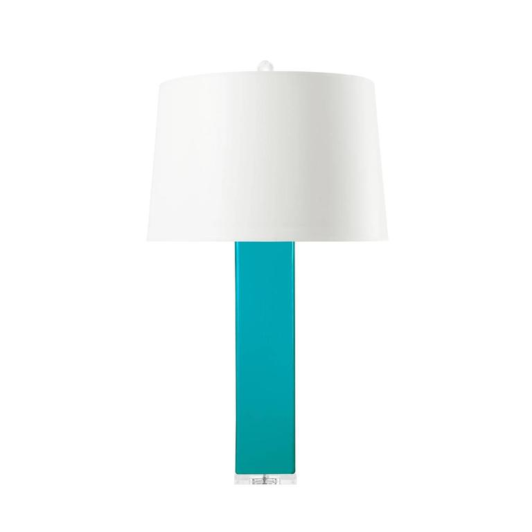 Pair of Tall Turquoise Blue Glass Lamps on Lucite Stands 2