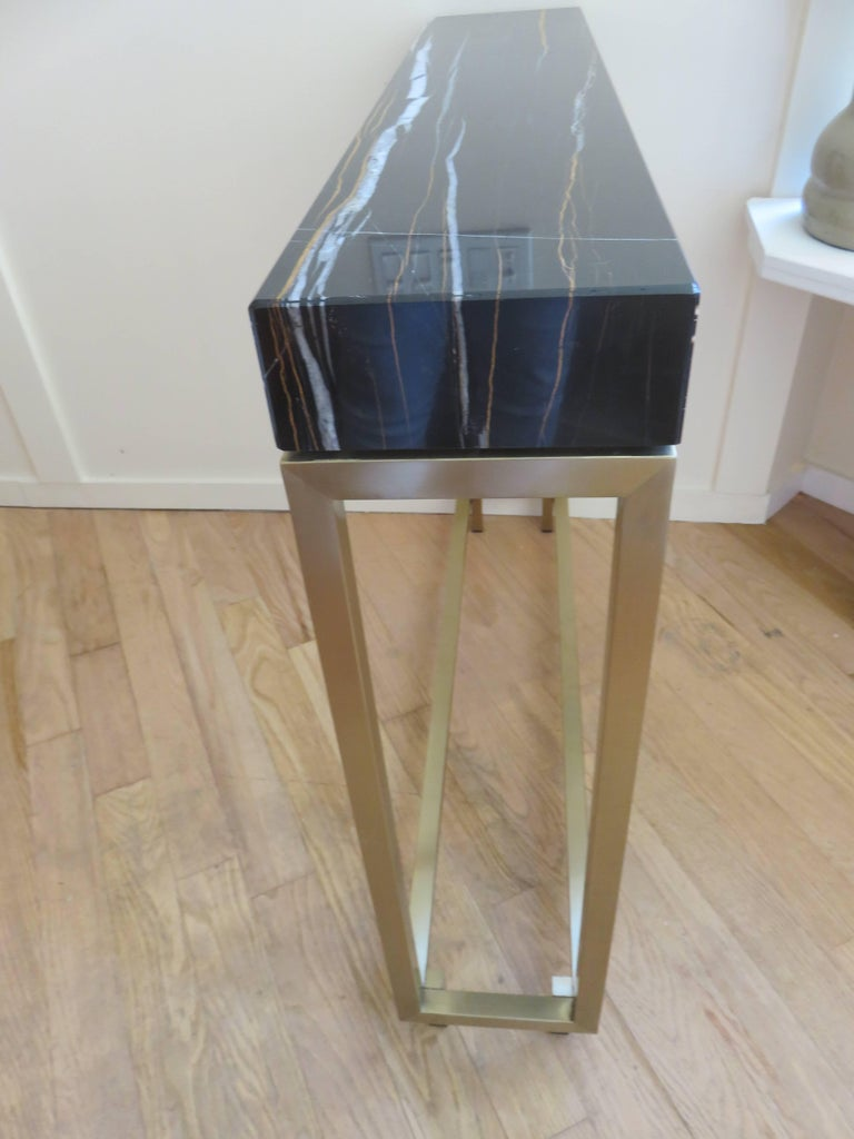Pair of Marble and Bronze Console Tables 4