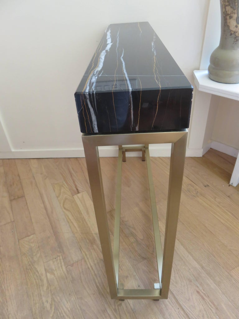 Pair of Marble and Bronze Console Tables 7