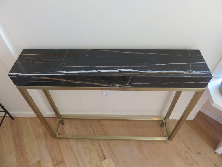 Pair of Marble and Bronze Console Tables 2