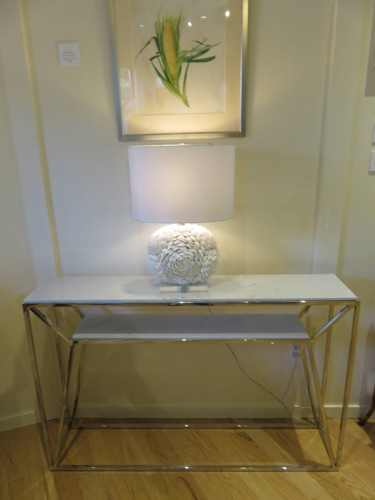 Marble and Chrome Two Level Console Table 2