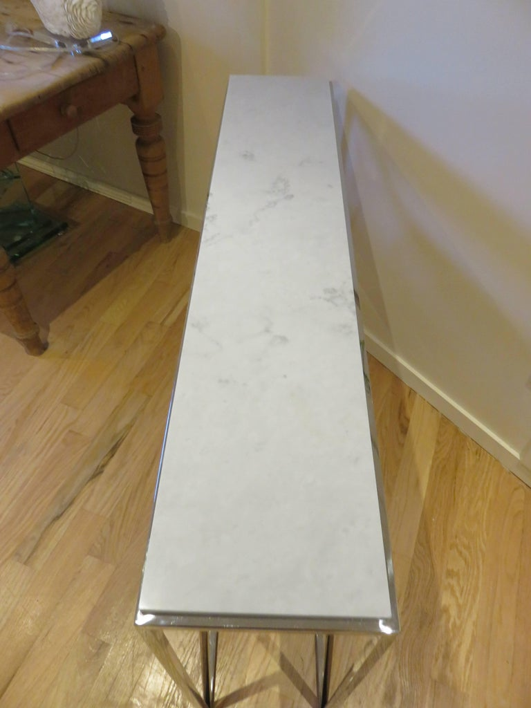 Marble and Chrome Two Level Console Table 6