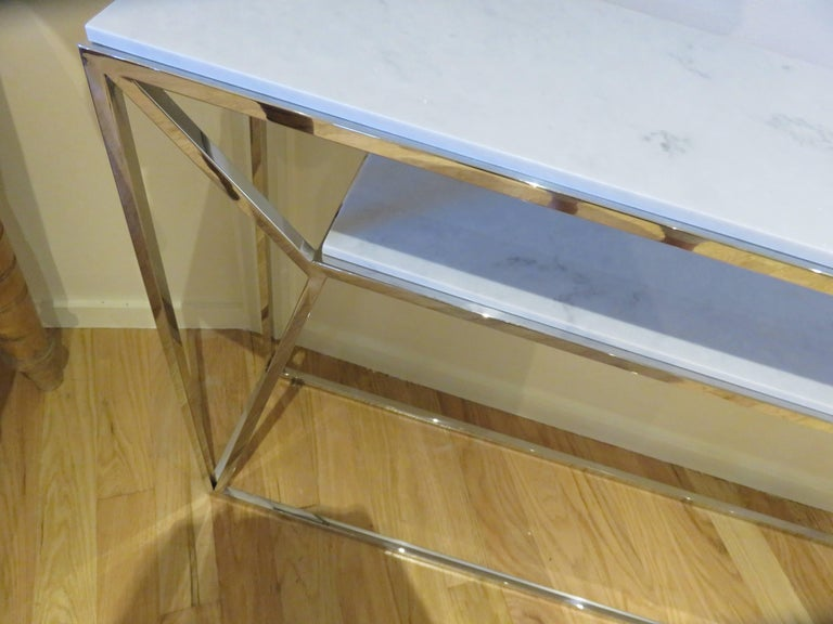 Marble and Chrome Two Level Console Table 3