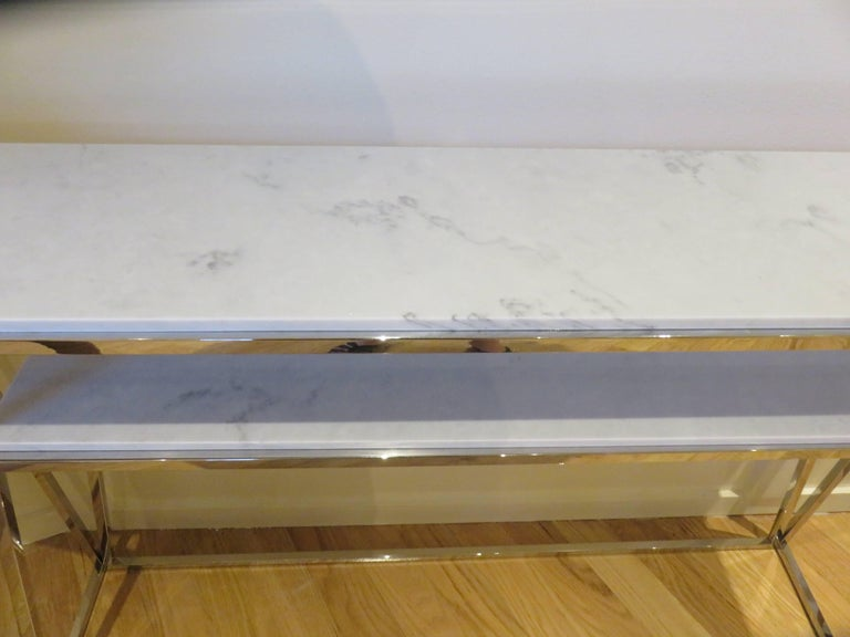 Marble and Chrome Two Level Console Table 5