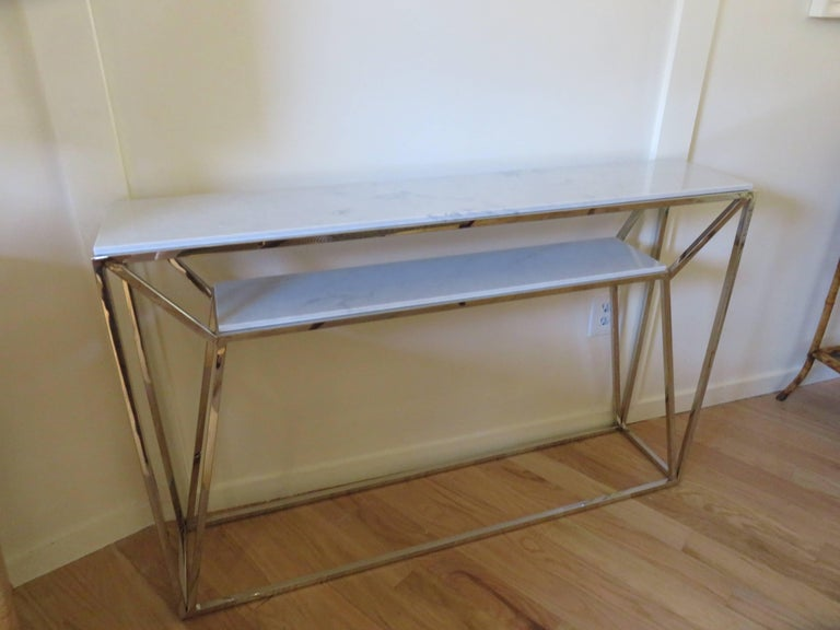 Marble and Chrome Two Level Console Table 7