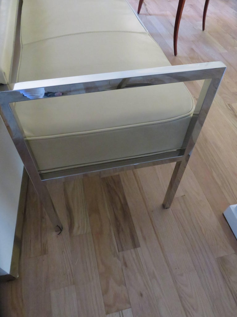 Italian Leather and Chrome Bench-Settee For Sale