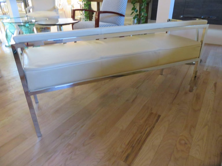 Modern Leather and Chrome Bench-Settee For Sale