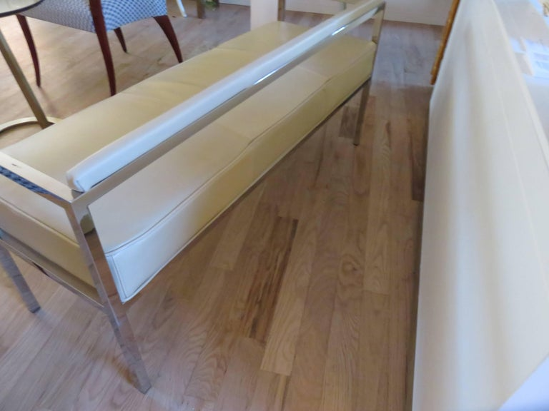Hand-Crafted Leather and Chrome Bench-Settee For Sale