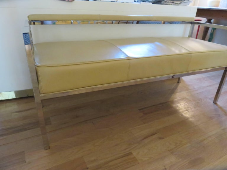 20th Century Leather and Chrome Bench-Settee For Sale