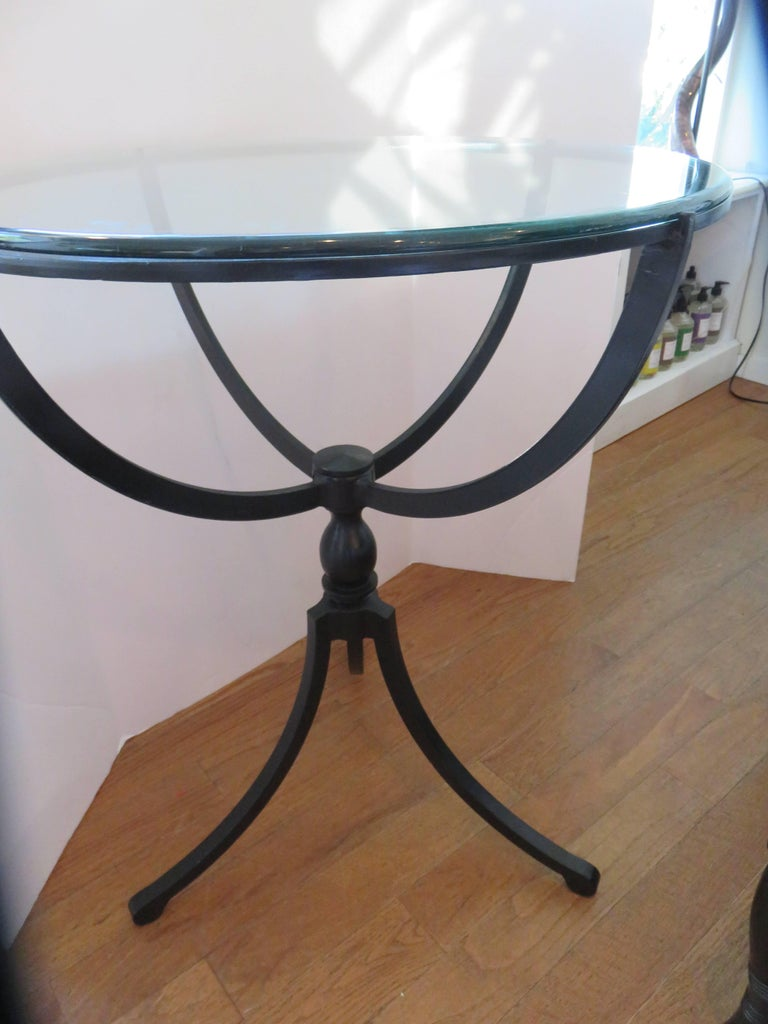 French Midcentury Gueridon Form Black Iron Table For Sale