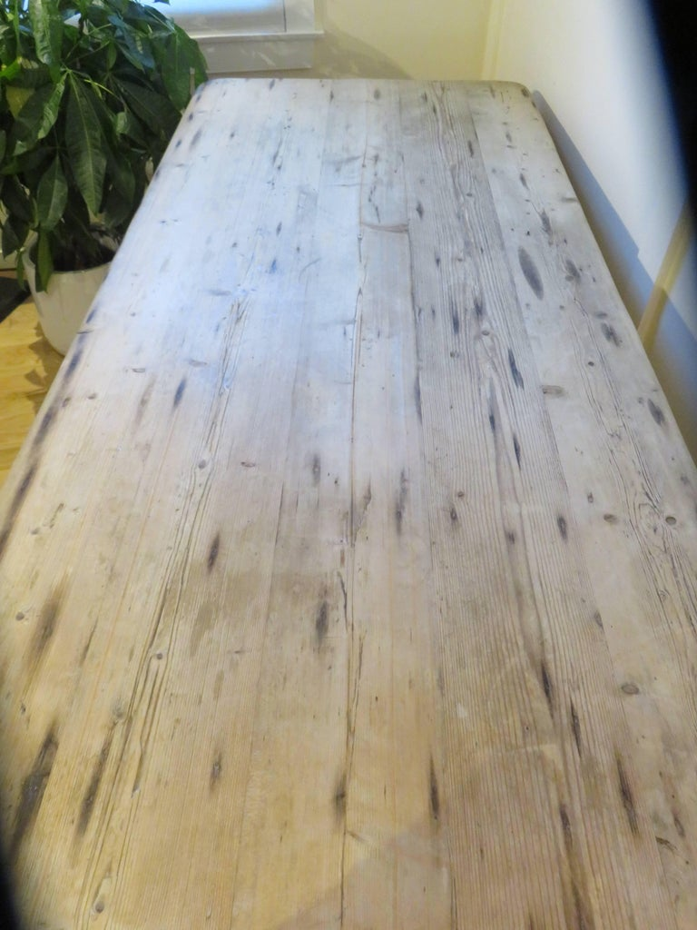 Large New England Antique Country Pine Dining Table or Desk 2
