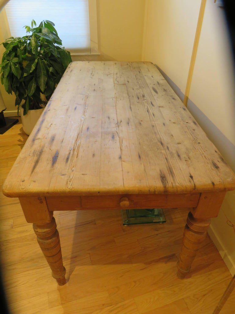 Large New England Antique Country Pine Dining Table or Desk 5