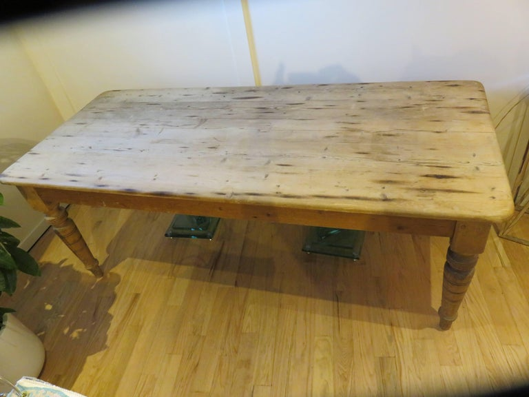Large New England Antique Country Pine Dining Table or Desk 6