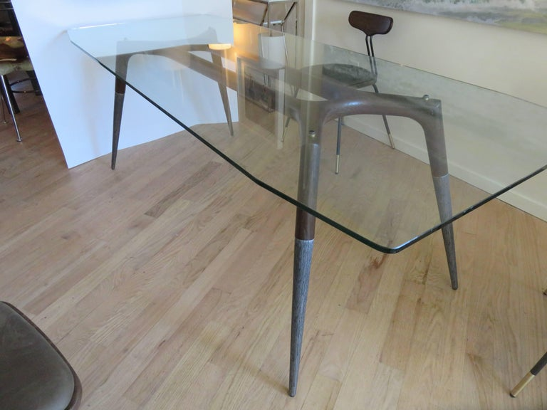 Steel Italian Modern Dining Room Table and Six Chairs For Sale