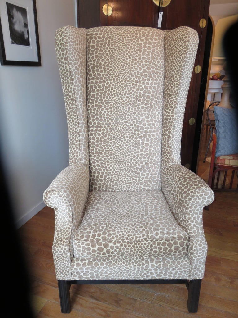 Hand-Crafted English Custom Super High Backed Wing Chair, circa 1920s For Sale