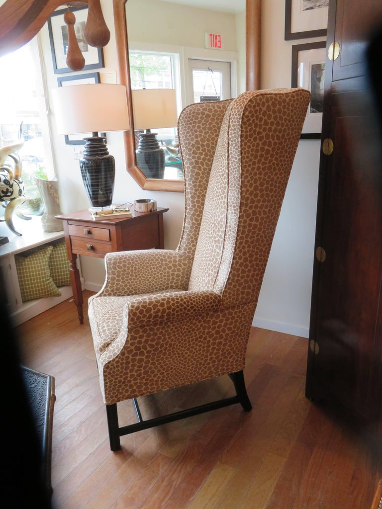 English Custom Super High Backed Wing Chair, circa 1920s For Sale 2