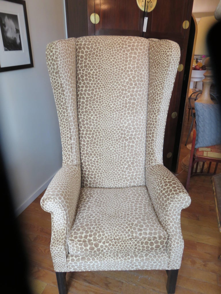 English Custom Super High Backed Wing Chair, circa 1920s For Sale 3