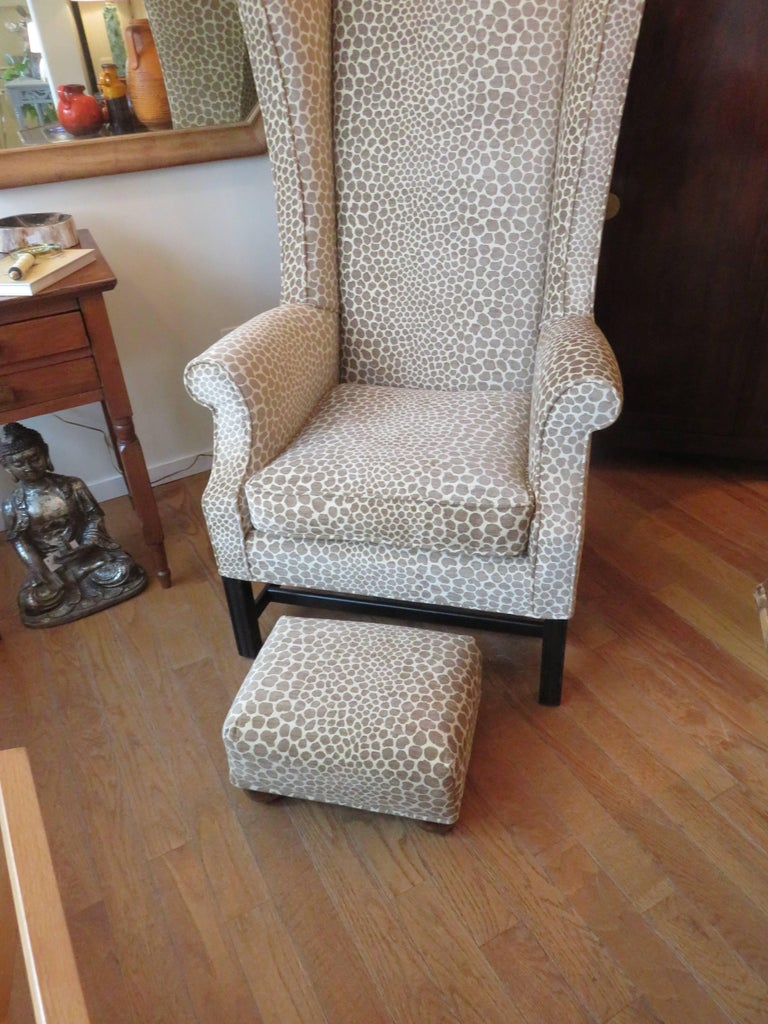 British Colonial English Custom Super High Backed Wing Chair, circa 1920s For Sale