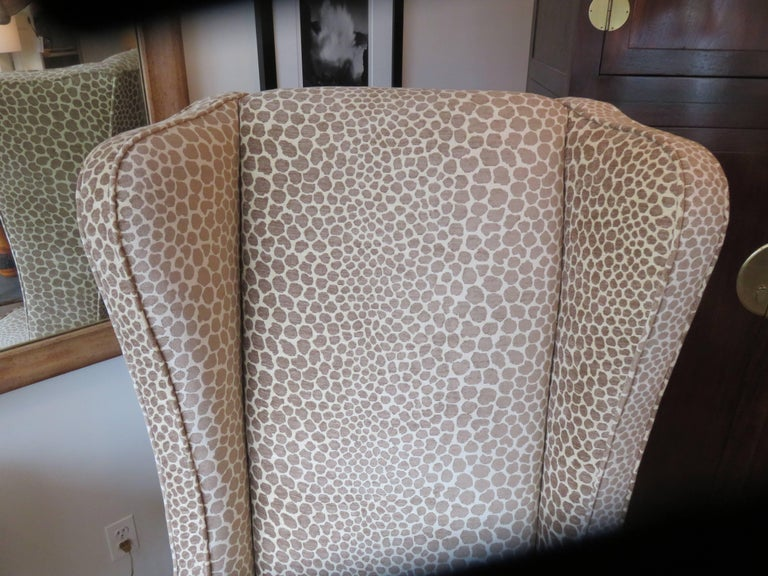 Chenille English Custom Super High Backed Wing Chair, circa 1920s For Sale