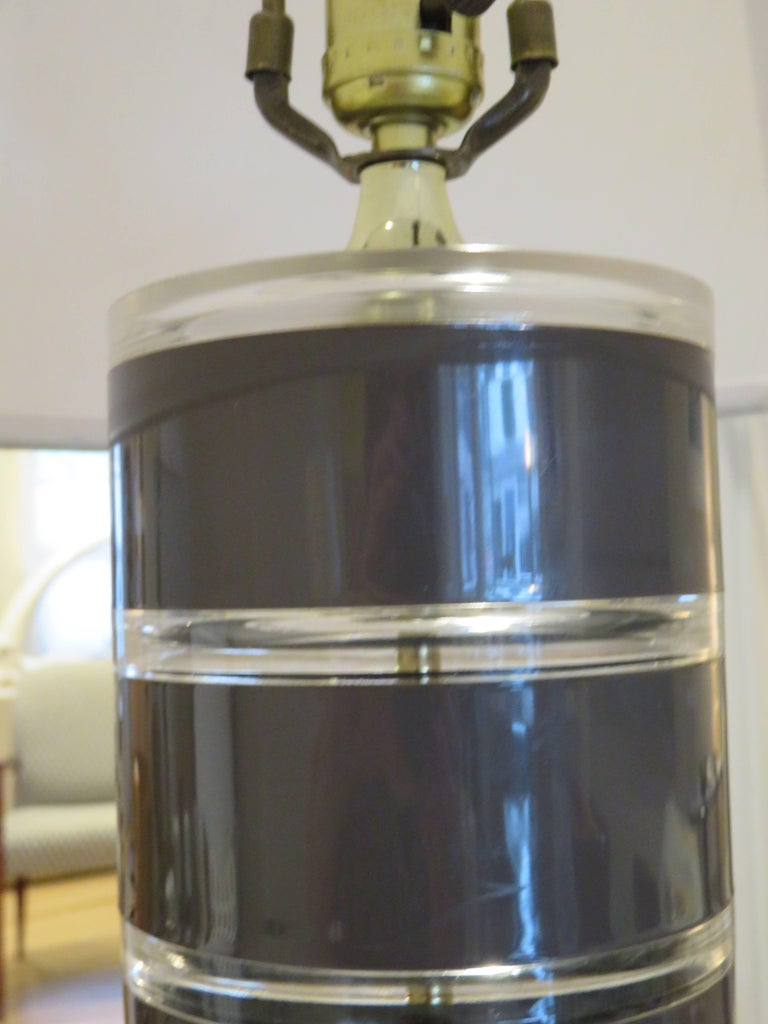 American Rare 1970s Stacked Lucite Modern Floor Lamp by Optique For Sale